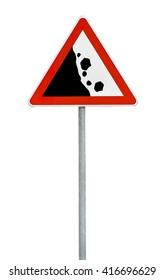Triangle road sign falling rocks
