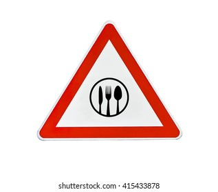 Triangle road sign restaurant attention