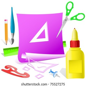 Triangle ruler. Paper template. Raster illustration.