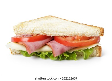 triangle sandwich with ham, cheese and vegetables, isolated