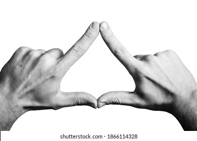 Triangle shape made with fingers. Two hands connected together background. Illuminati triangle. Fingers sign isolated on white.