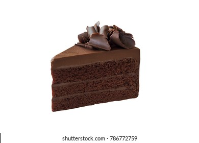 Triangle shape slices piece of dark chocolate fudge cake topping with chocolate curl on white isolated background with clipping paths. Homemade bakery concept for birthday cake or valentine dessert.