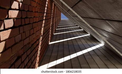 Triangle Shaped Architectural Tunnel Corridor
