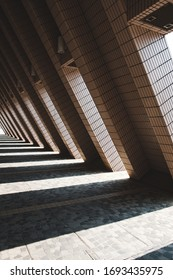 triangle shaped outdoor corridor, tunnel architecture -