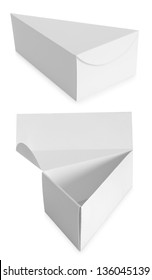 triangle white Package Box isolated over white background