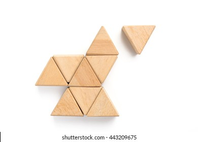 Triangle wood block arranging can use for business template or bullet or infographic.