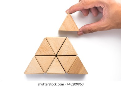 Triangles wood block arranging as stack step can use for business template or bullet or infographic.