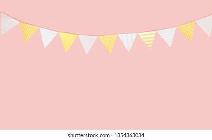 Triangular flags for birthday pastel colors.