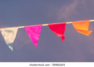 Triangular flags of different colors