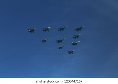 Group Eight Russian Military Fighter Jet Stock Photo (Edit Now