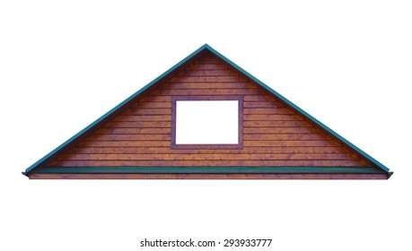 triangular metal roof isolated on white background, window's color also white