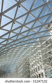 triangular pattern on the glass roof of modern building