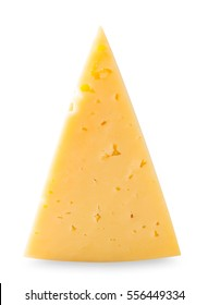 The triangular piece of cheese isolated on white background