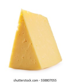 Triangular piece of cheese shot at an angle isolated on white background