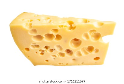 triangular piece of yellow cow's milk swiss cheese with holes cutout on white background