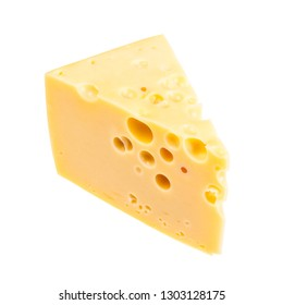 triangular piece of yellow semi-hard cow's milk swiss cheese with internal holes isolated on white background