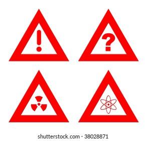 Triangular red hazard warning signs isolated on white background.
