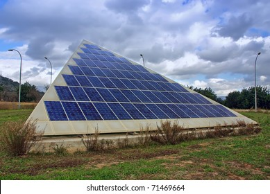 Triangular shape photovoltaic solar panel in a technological park