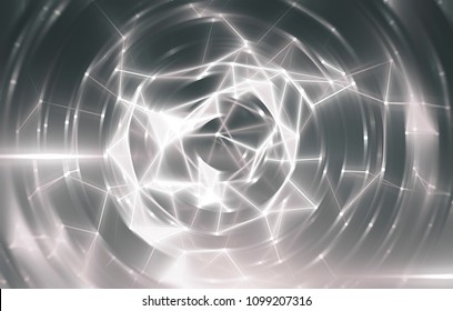 Triangulars on a abstract gray background with scintillating circles and gloss. Brilliant round sphere tunnel. Illustration digital.