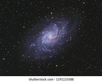 Triangulum Galaxy M33 in Triangulum constellation with Nebula,Open Cluster,Globular Cluster, stars and space dust in the universe and Milky way taken by dedicated astrophotography camera on telescope.