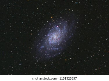 Triangulum Galaxy Galaxy M33  with Nebula ,Open Cluster,Globular Cluster, stars and space dust in the universe and Milky way taken by dedicated astrophotography camera on telescope.
