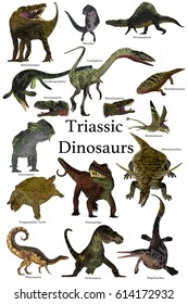 Triassic Dinosaurs 3d illustration - A collection of various dinosaurs and reptiles that lived in the Triassic Period of Earth's history.