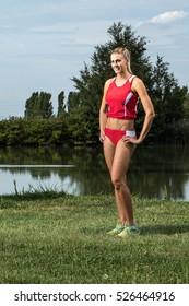 Triathlete posing in outdoor