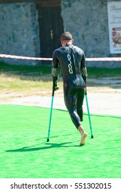 Triathlon Cup of Ukraine and Cup of Bila Tserkva. July 24, 2016 in Bila Tserkva, Ukraine.  Paralympic disabled man athlete on competition