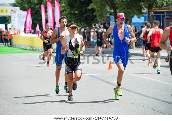 Triathlon Cup of Ukraine and Cup of Bila Tserkva. July 15, 2018 in Bila Tserkva, Ukraine. Triathlete running speed en route