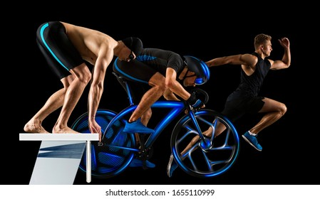 Triathlon sport collage. Man running, swimming, biking for competition race black background.  Two image of the same model