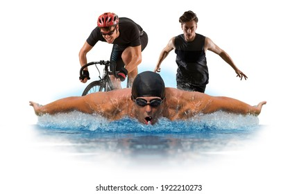 Triathlon sport collage. Man running, swimming, biking for competition race. Isolated on white background