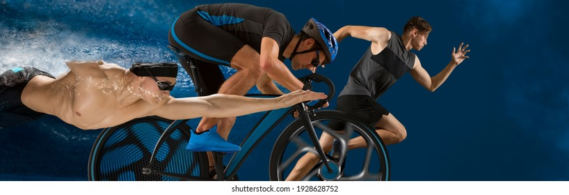 Triathlon sport collage. Man running, swimming, biking for competition race