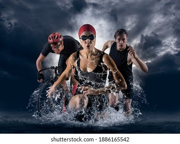Triathlon sport collage. Man, woman running, swimming, biking for competition race