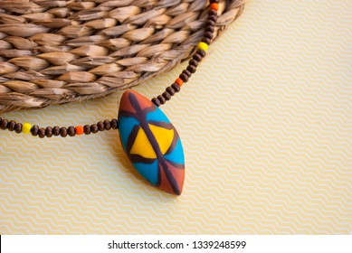 Tribal african choker necklace with wooden beads. Handmade jewelry.