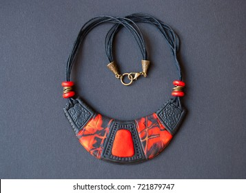 Tribal black and red bib necklace. Handmade jewelry from polymer clay. African fashion.Unique gift for woman.