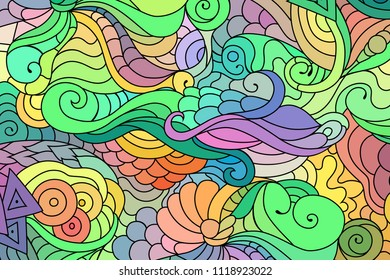 Tribal doodle zentangle inspired background with colorful yakuza tattoo style pattern. Oriental digital raster graphic.