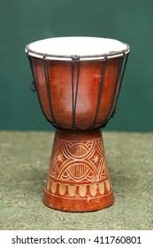Tribal Drum on green background