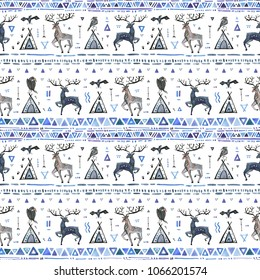 Tribal hand drawn background, ethnic seamless pattern with animals and dream catcher