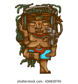 Tribal man with a dreadlocks hairstyle listening music by his big headphones. Hand drown style illustration