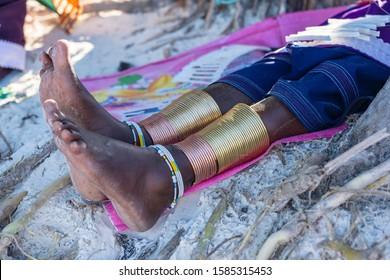 Tribal masai leg with a colorful bracelet, close up. Zanzibar, Tanzania, East Africa