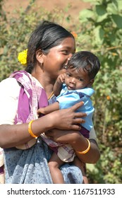 Tribal Mother and kid at Fields 25th Jan 2018 Hyderabad India