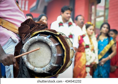 Tribal musical instruments for a traditional South Indian wedding. This is one type of Indian drum in north India. It is played with thimbles, tacks, and sticks.