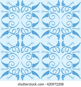 Tribal seamless blue geometric pattern. Striped hand painted Aztec seamless pattern with ethnic and tribal motifs. Watercolor. Flowers texture. Blue background.