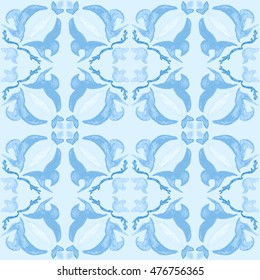 Tribal seamless blue geometric pattern. Striped hand painted Aztec seamless pattern with ethnic and tribal motifs. Watercolor. Ethnic background.  Flowers texture.