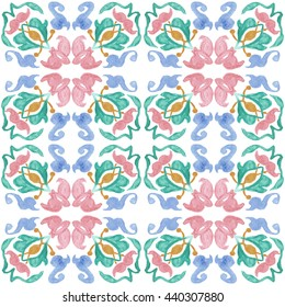 Tribal seamless colorful geometric pattern. Striped hand painted Aztec seamless pattern with ethnic and tribal motifs. Watercolor. White background. Flowers texture.