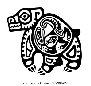 Tribal style image of a fish inside a coyote inside a bear.