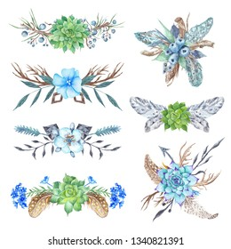Tribal Vignette Forest Wreath Design Elements Set Collection of stylish watercolor hand-painted feathers, florals, arrows and triangles in boho style