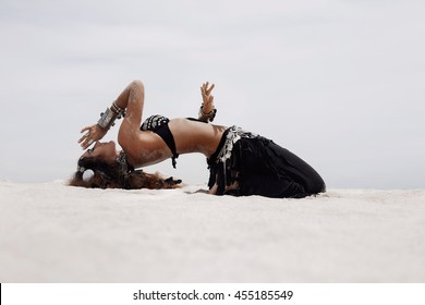 tribal woman belly dancer outdoors