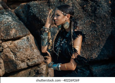 tribal woman outdoors