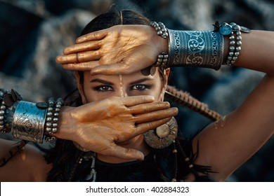 tribal woman portrait outdoors